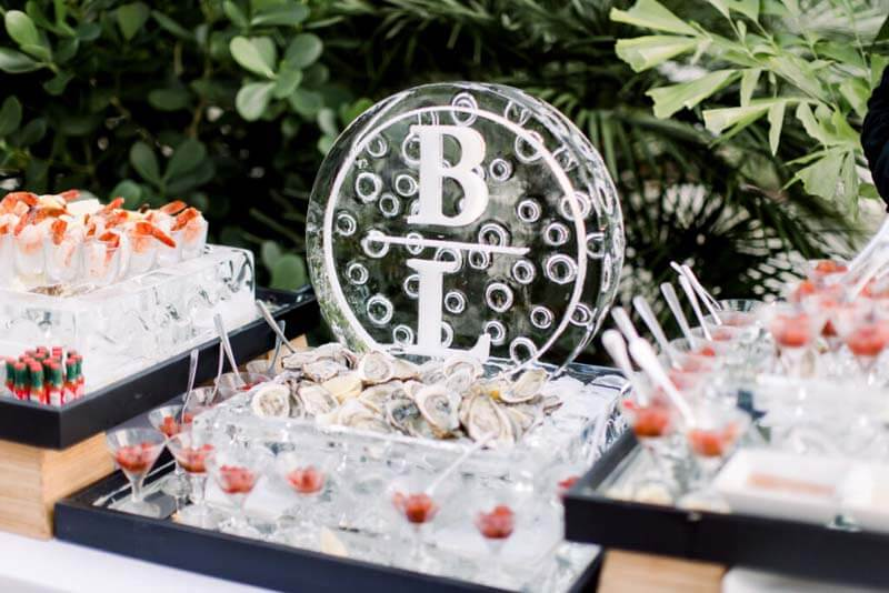 BL ice sculpture by catering display