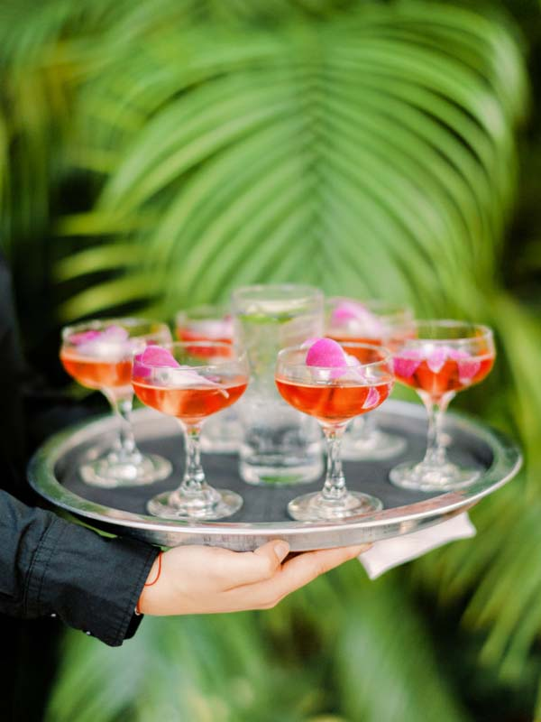 blushing bride drinks being served