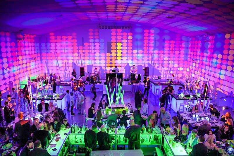 aerial view of high end colorful miami mitzvah