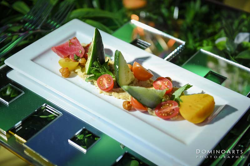 fruit and vegetables plated on rectangle plate