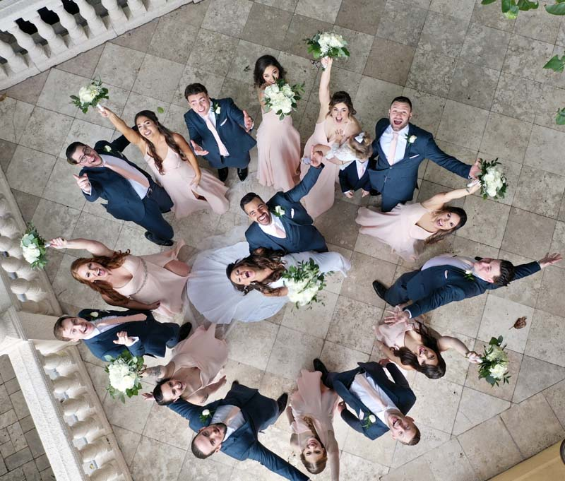 image from above of bridal party celebrating