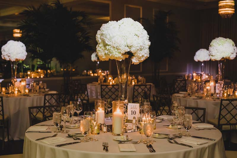 raised floral center piece made of white flowers