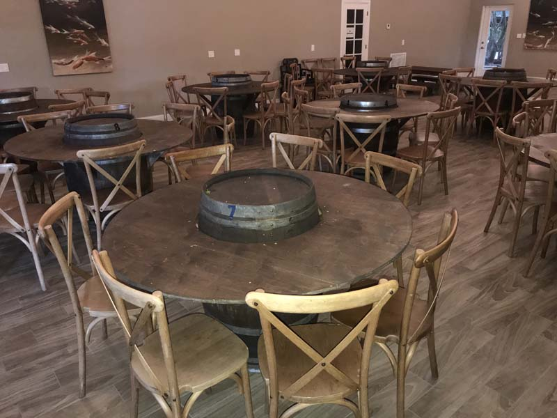 western style tables made of full sized tables