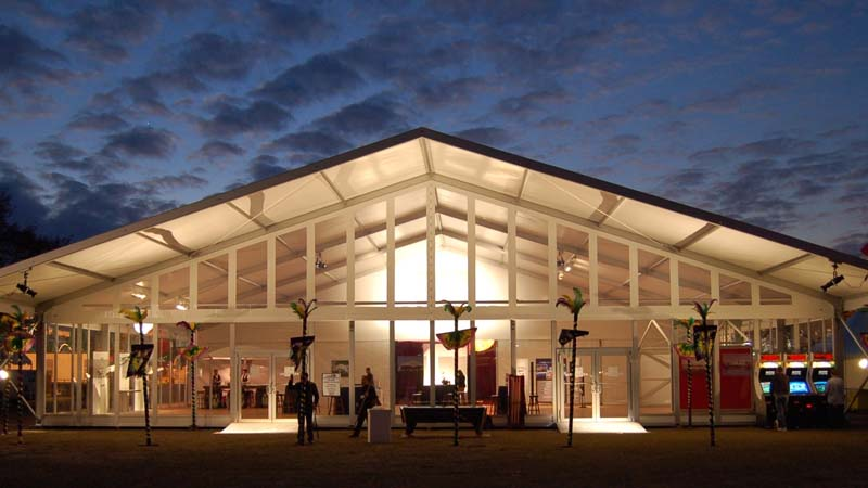 outdoor view of vaulted venue at night