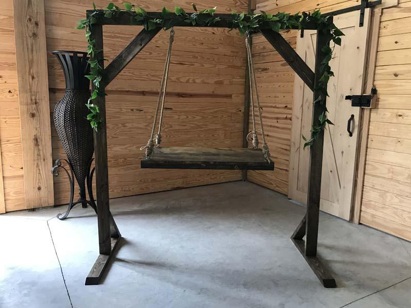 Hanging wedding cake station made of wood