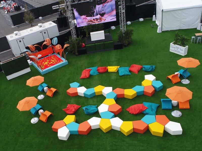 aerial view of colorful outdoor modular furniture