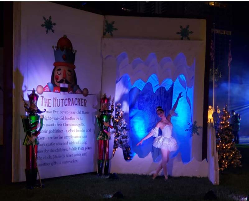 The nutcracker themed decorations with ballerina posing with decor