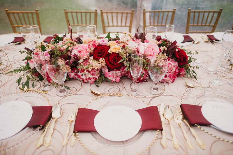 wedding table setting with floral center piece