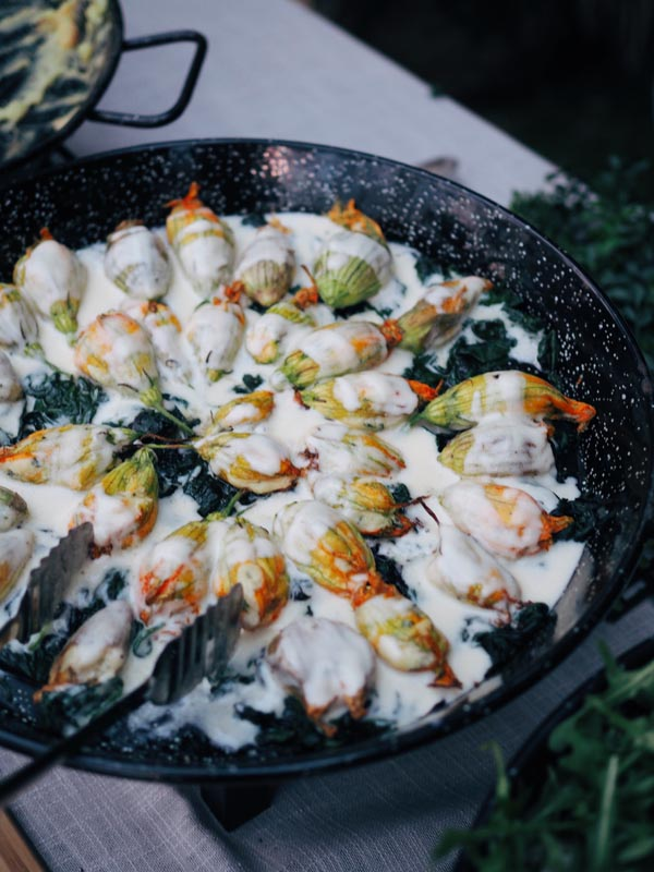 Food being cooked for wedding event