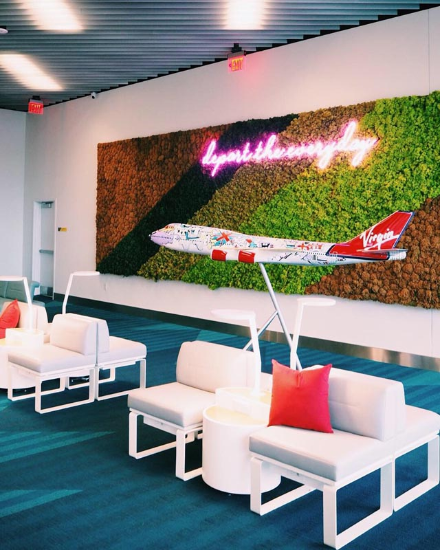 image of Virgin Airplane on wall