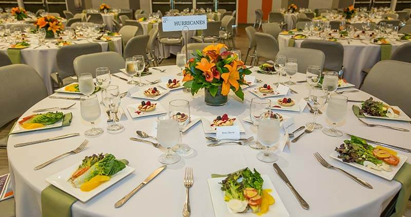 table setting for corporate event