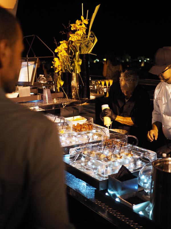 catering display outdoors at night