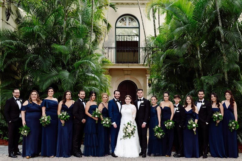 bridal party outside event center