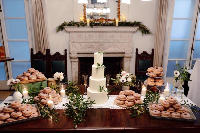 wedding cake and donuts display