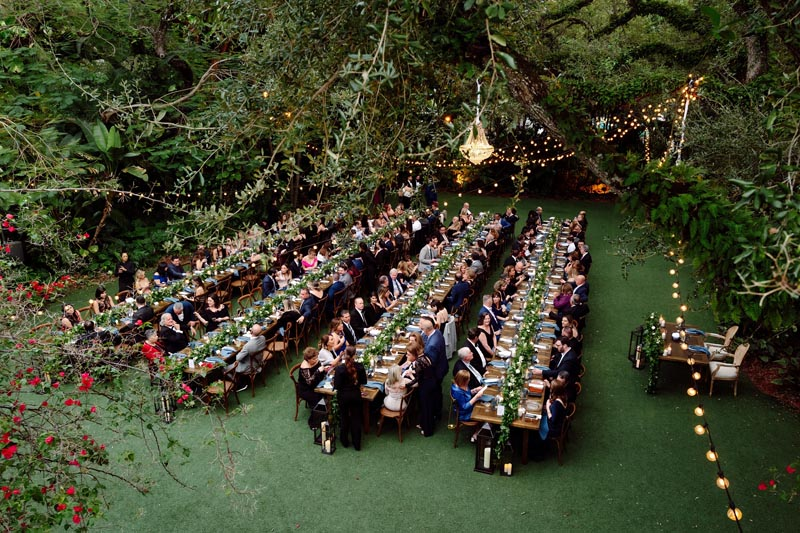 above shot of wedding guests at reception