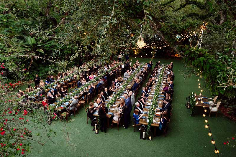 aerial view of guests at reception