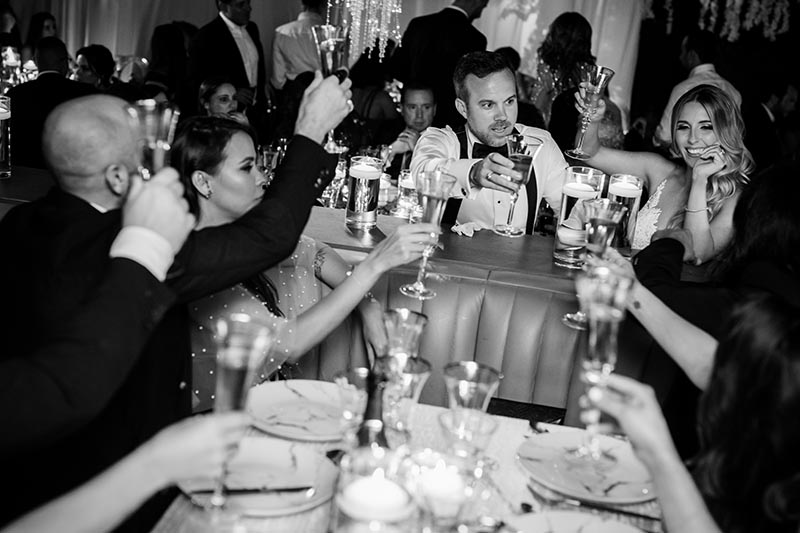 bride and groom toasting with guests