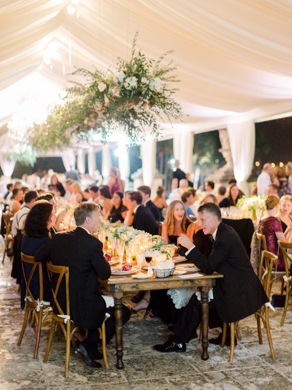 wedding reception outside under large tent