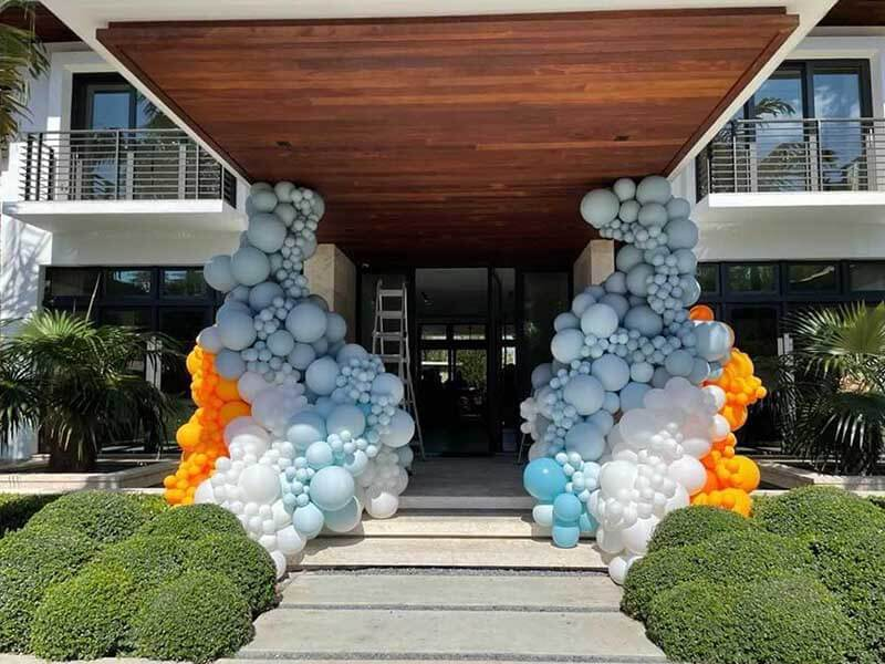 event venue with large balloon display outfront