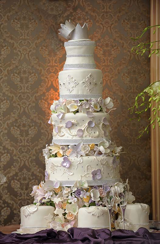 Giant wedding Cake with crowns on top