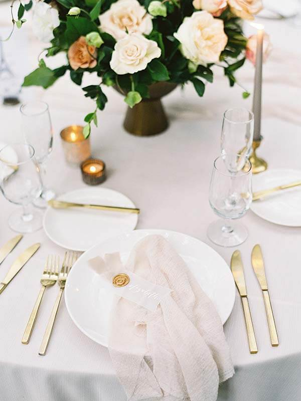 single table setting with napkin and floral setting