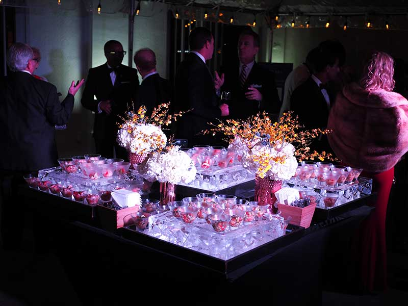 catering display on large blocks of ice