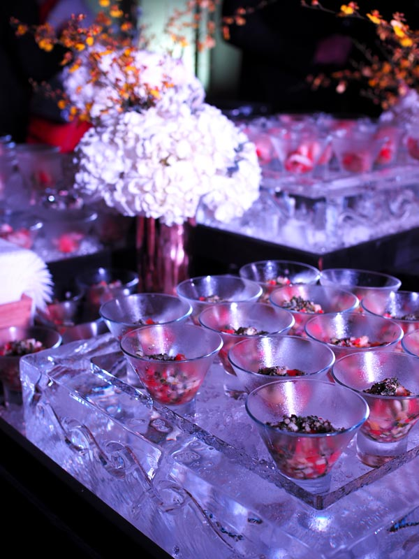 catering display on large ice blocks