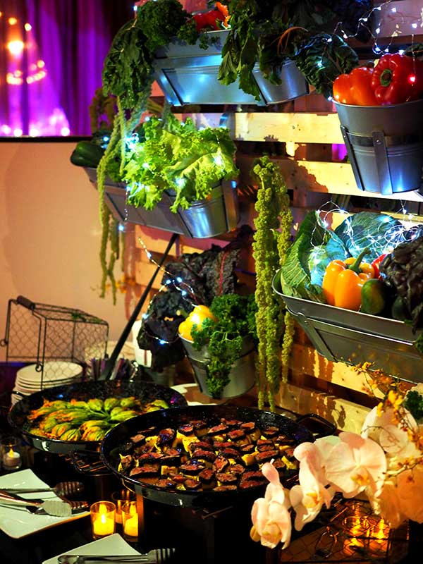 catering display with fresh greens