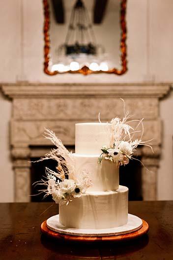 3 tier wedding cake with flowers