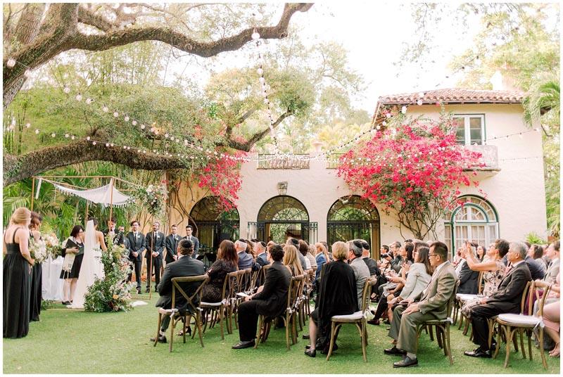 side shot of outdoor wedding in progress