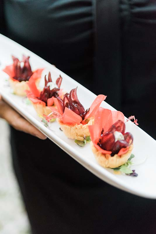 appetizers being served on thin plate