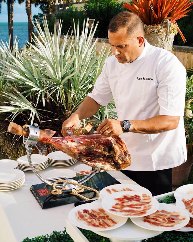 jose Salmon shaving meat for guests