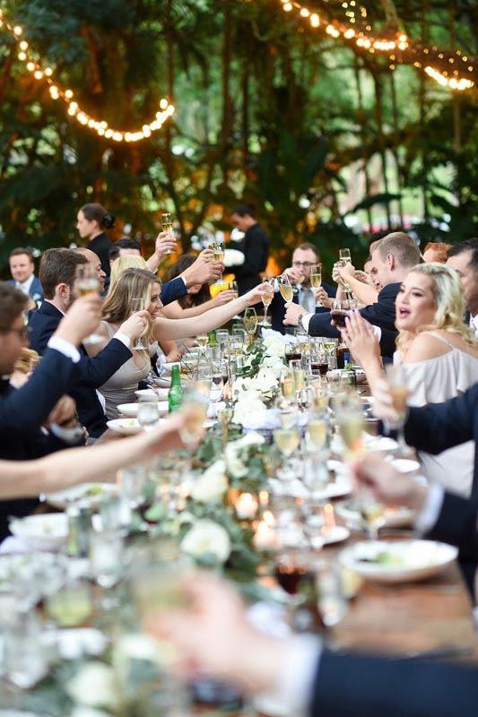 group toasting to a beautiful wedding at table
