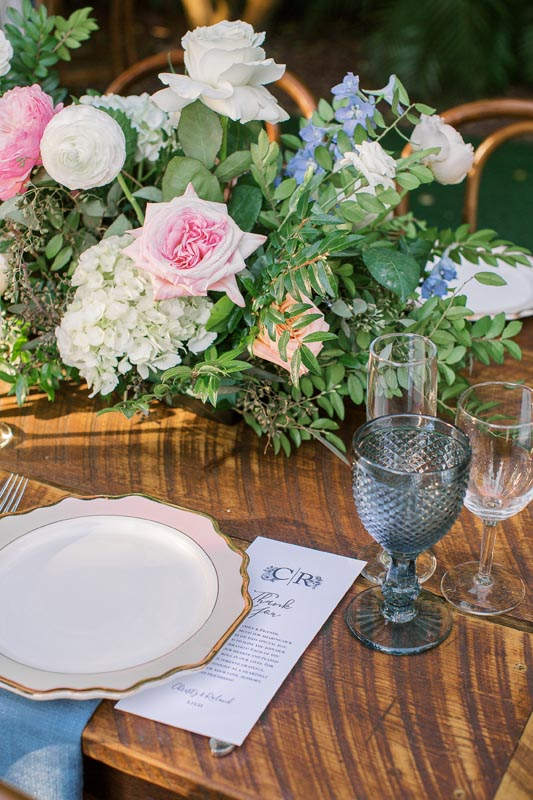 single table setting with floral center piece