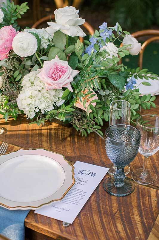 single table setting with flowers and cups