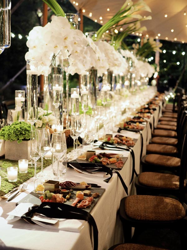 long table setting for wedding reception