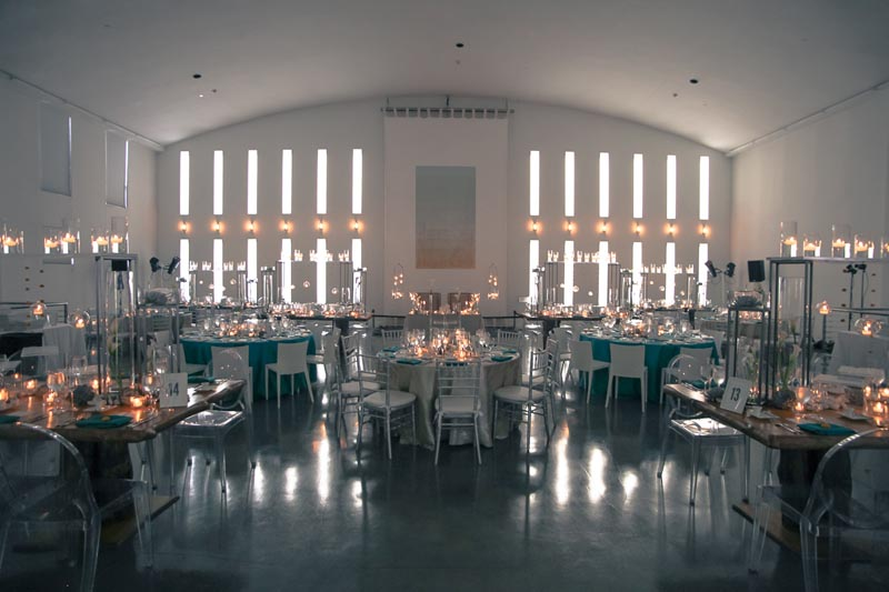 round tables set for wedding reception in temple