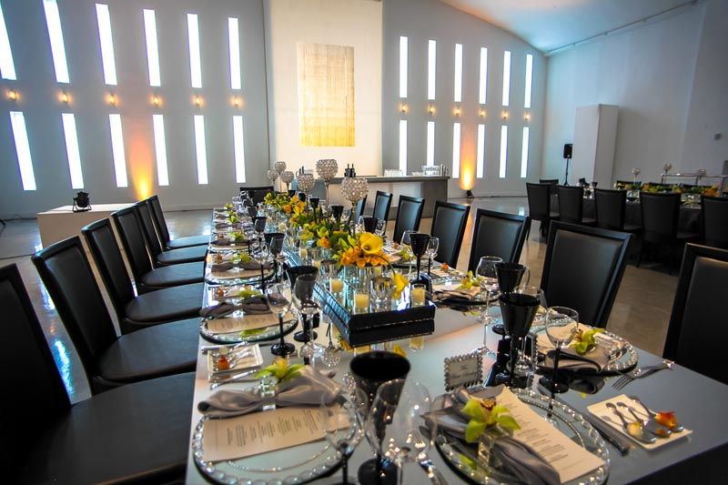 large table set for wedding reception in temple