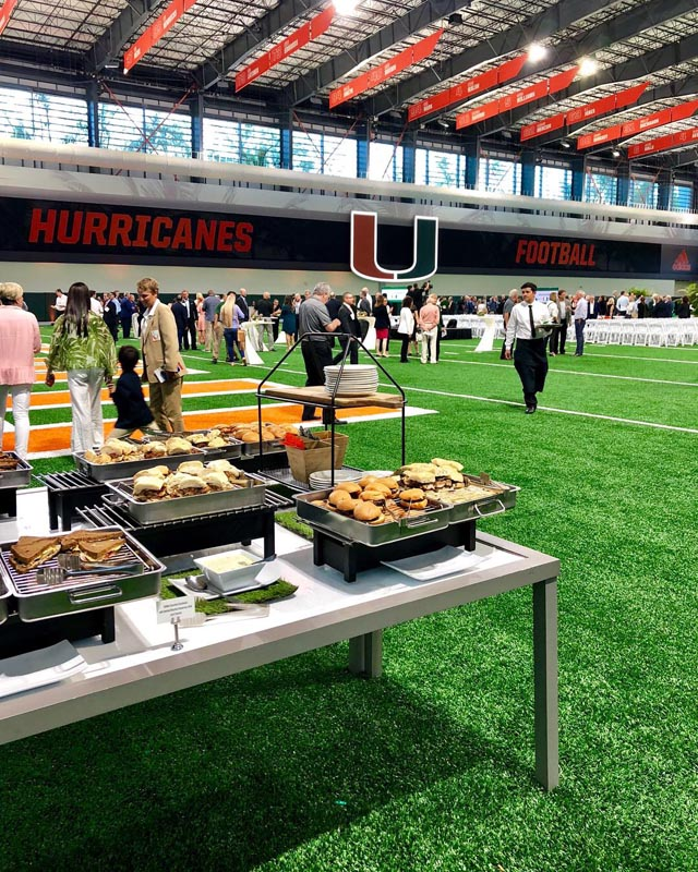 catered event at Hurricanes Football arena