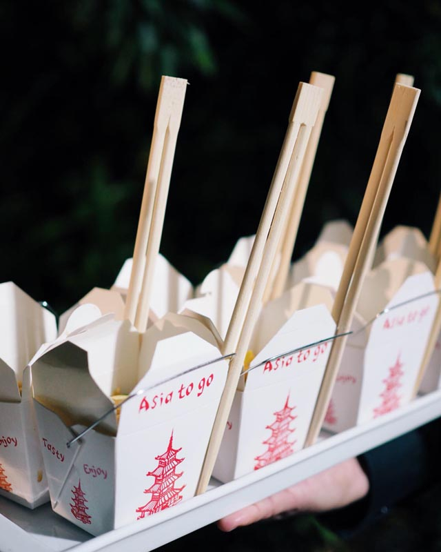 open asia to go boxes with chop sticks