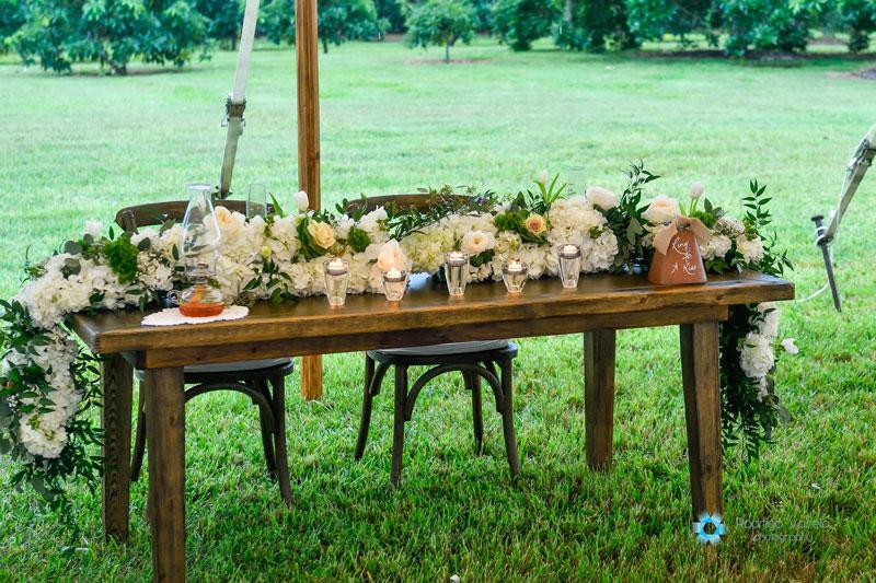 floral arrangement at wedding reception