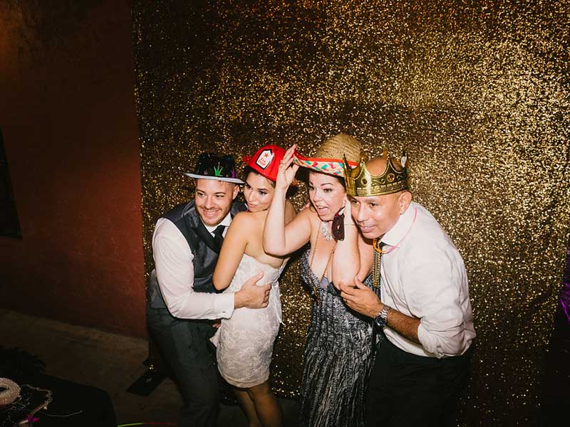 wedding photo booth being used